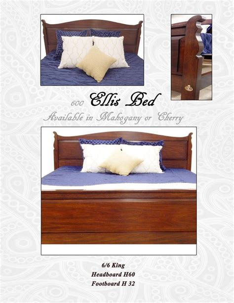 ellis upholstery ellis bed shown in king size with mahogany finish option