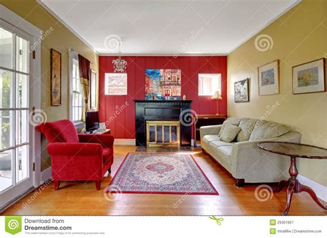 red and yellow living room living room with red and yellow walls and fireplace
