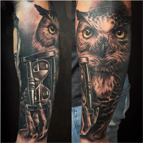 owl tattoo unterarm realistic owl and sand clock in black and gray by yarda