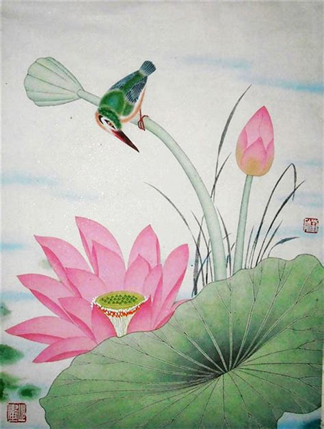 Discount Wall Mural lotus and bird original chinese painting wall art