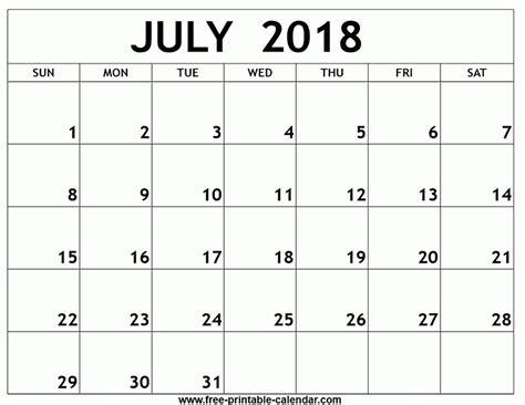 Calendar July 2018 Printable Calendar July 2018 Free Journalingsage