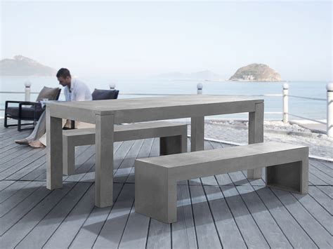 Concrete Patio Table Set Outdoor Furniture Set Concrete Table 2 Benches Stool Weatherproof Ebay