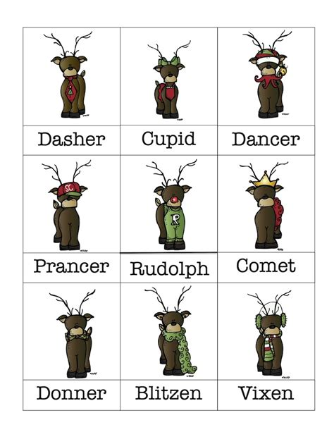 free printable reindeer names reindeer clip art with reindeer names vocabulary cards