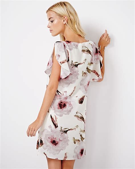 Printed Sleeve Shift Dress printed shift dress with ruffle sleeves rw co