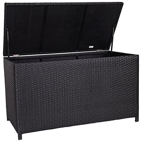 Outdoor Furniture Cushion Storage Giantex 47 Black Outdoor Wicker Deck Cushion Storage Box