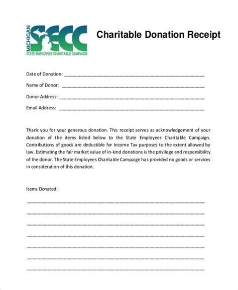template receipt won auction items 5 charitable donation receipt templates formats