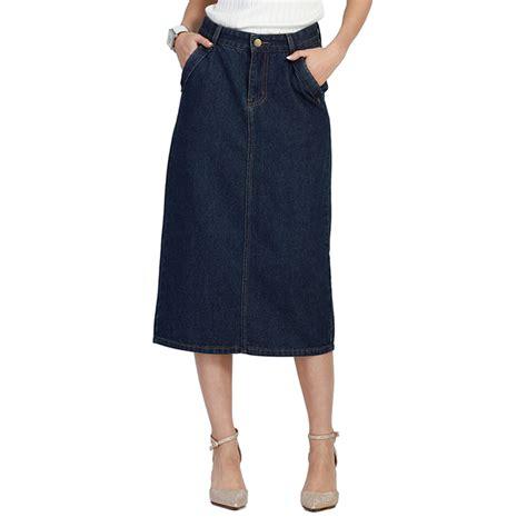popular denim skirts calf length buy cheap denim skirts