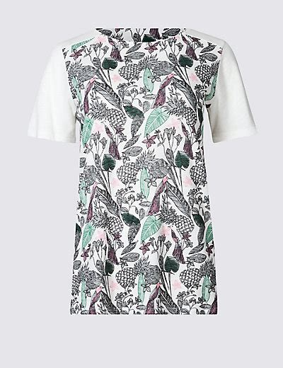 T Shirt Spence Air Pineapple cotton blend pineapple print t shirt m s