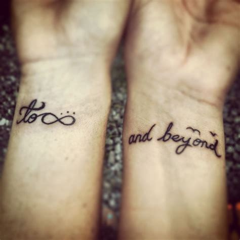 to infinity and beyond couple tattoo distance to infinity and beyond tattoos
