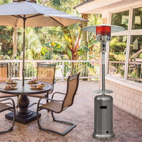 Umbrella Patio Heater 7 Ft Steel Umbrella Propane Patio Heater In Stainless Steel Han003ss