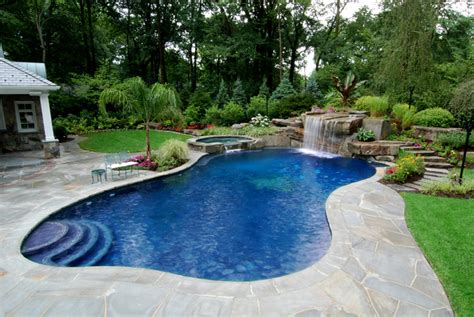 Pool Backyard Designs Backyard Swimming Pools Waterfalls Landscaping Nj