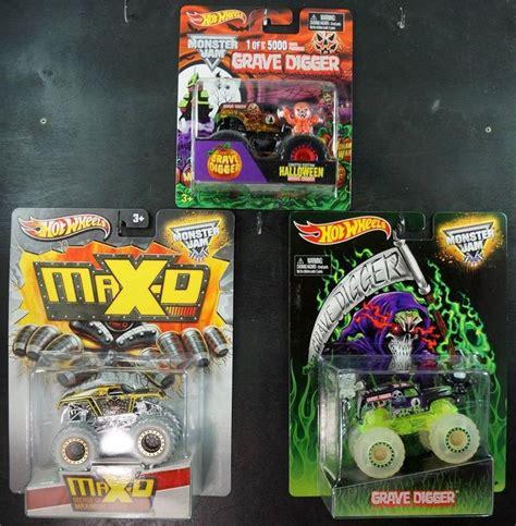 wheels monster truck grave digger wheels lot of 3 monster trucks halloween glow grave