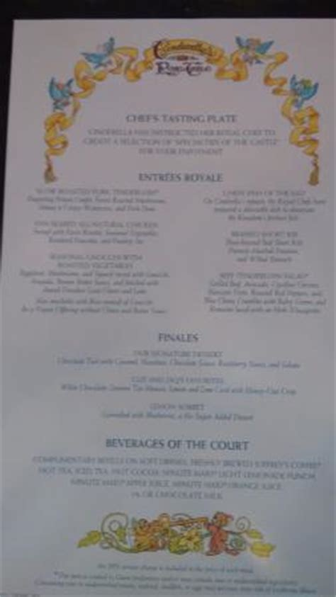 Table Menu Prices by Menu Picture Of Cinderella S Royal Table Orlando