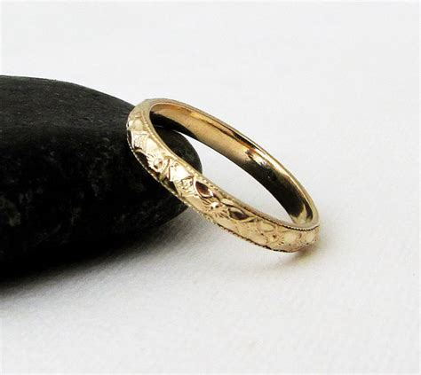 pattern for gold rings gold floral pattern ring womens gold wedding band by