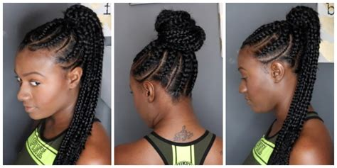 show some different inside up cornrow stytles cornrow braids in a ponytail stylis