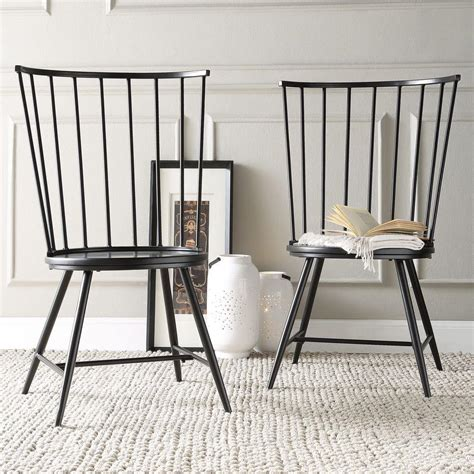 Homesullivan Walker Black Wood Metal High Back Dining Black Metal Dining Room Chairs