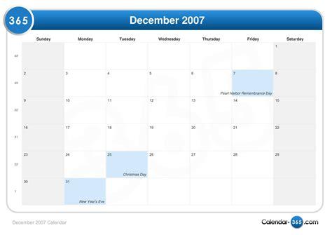 December 2007 Calendar December 2007 Calendar