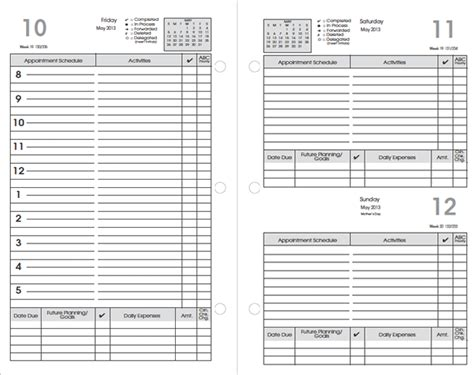 daily 5 planning template image gallery organizers planners templates