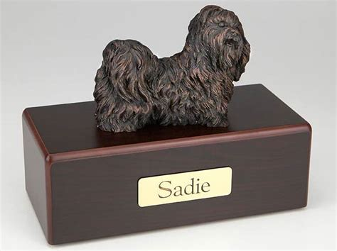 shih tzu urn bronze look shih tzu cremation figurine urn w wood storage box