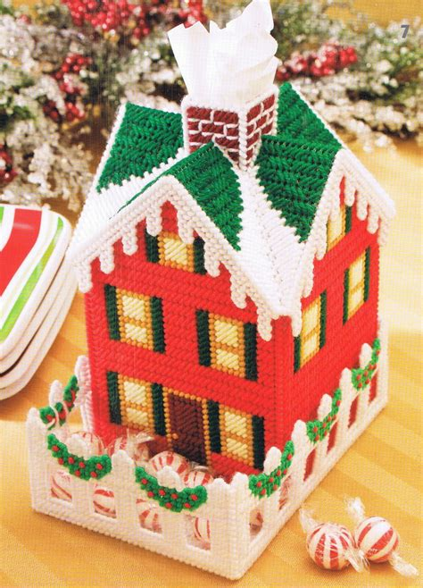 christmas pattern box christmas cottage plastic canvas tissue topper box cover