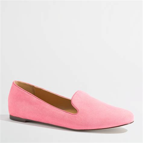 pink loafers j crew factory addie suede loafers in pink brilliant