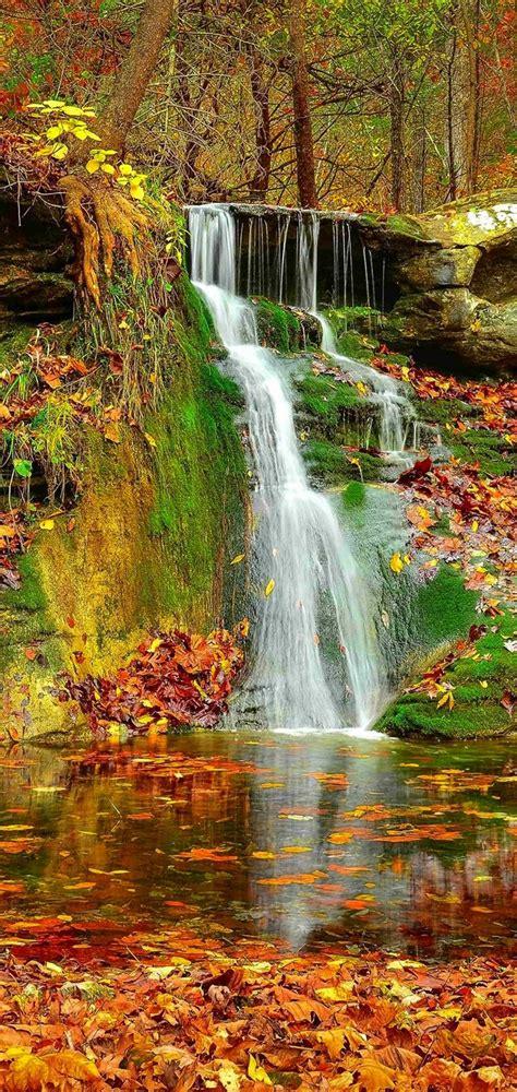 waterfall autumn lovely stream wallpaper