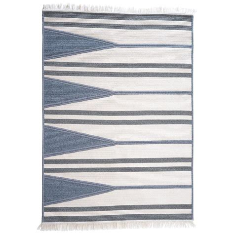 grey and white striped rug aya blue grey and white wool blend geometric stripe rectangle rug for sale at 1stdibs