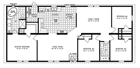 4 bedroom mobile home floor plans the imperial model imp 46013b 1600 sq ft