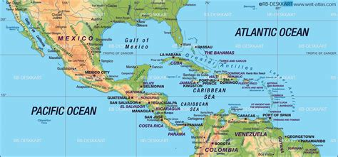 physical map of central america maps suggests