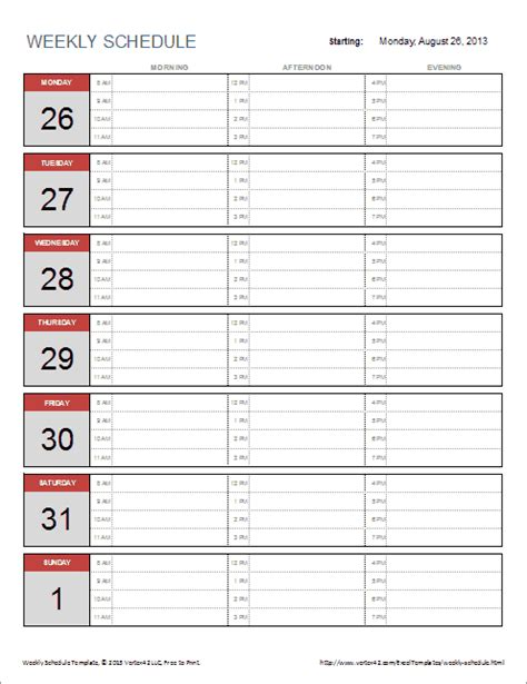 weekly schedule template  excel