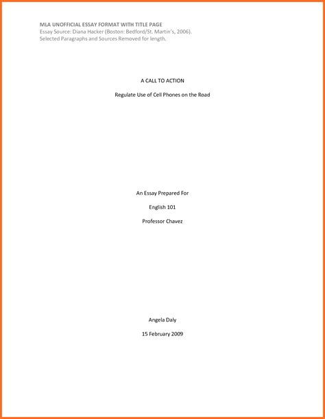 How To Make A Title Page For An Essay by Mla Cover Page Template Soap Format