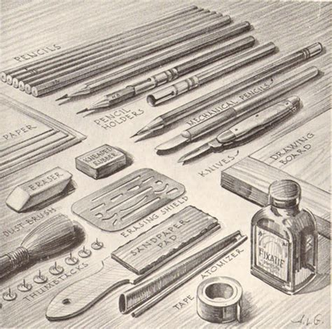 Drawing Supplies by Pencil Drawing Supplies Equipment That Pencil