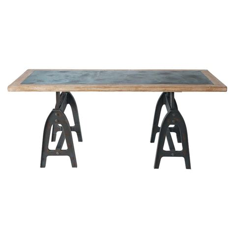 Distressed Finish Dining Table Metal Look Wood Dining Table In Distressed Finish W 200cm Metropolitan Maisons Du Monde