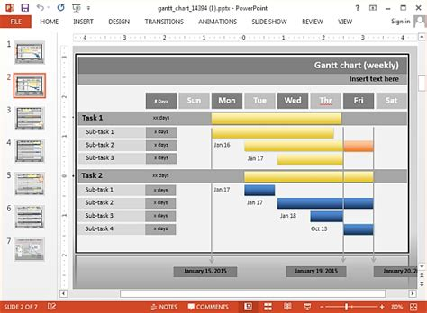 powerpoint interactive templates interactive gantt chart project progress template for