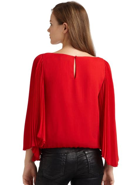 Pleated Sleeve Chiffon Blouse briar chiffon pleated sleeve blouse in