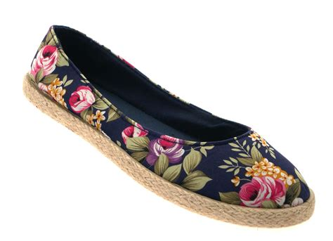 flat pumps shoes uk womens floral flat canvas pumps hessian espadrilles