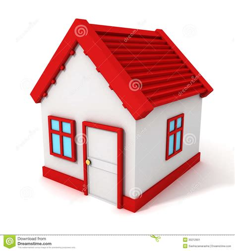 Simple Home Plans To Build 3d house with red roof on white background stock image