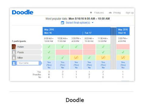 doodle poll sign up the best calendar software for small business