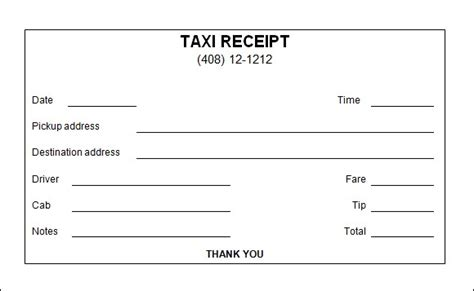 nyc taxi receipt template 7 taxi receipt templates word excel pdf formats