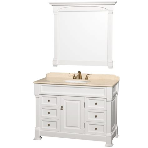 White Vanity Cabinets For Bathrooms Andover 48 Quot White Traditional Bathroom Vanity Set