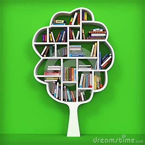 tree of knowledge bookshelf on white background royalty