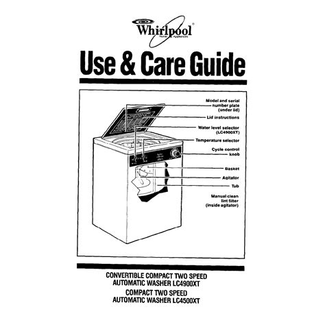 Whirlpool Washer Lc4500xt User Guide Manualsonline Com