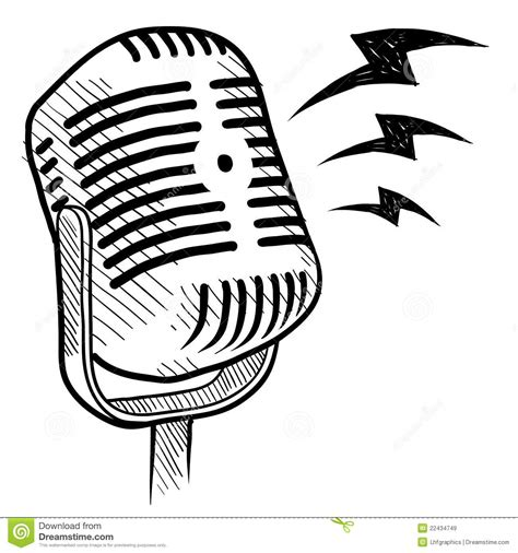 retro drawing retro microphone drawing stock vector illustration of
