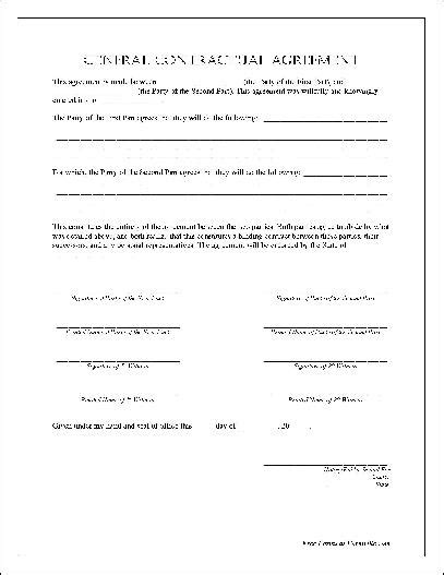 Notarized Letter Of Agreement Free Notarized General Contractual Agreement From Formville