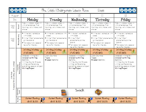 one page lesson plan template week planning template calendar template 2016