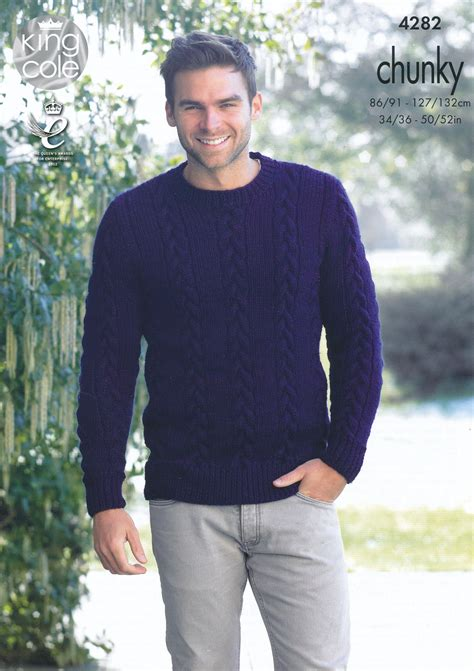 free knit pattern mens sweater mens chunky knitting pattern king cole cable knit sweater