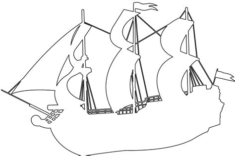 coloring page spanish galleon pirate ship silhouette free vector silhouettes