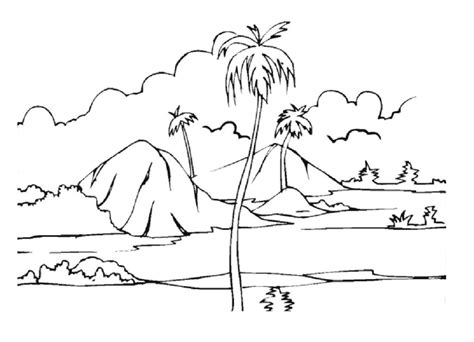 Landscape Nature Coloring Pages sketch template