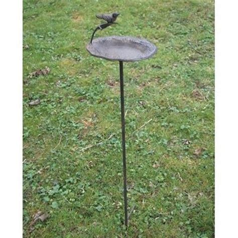 staked bird feeder and bath garden ornaments accessories