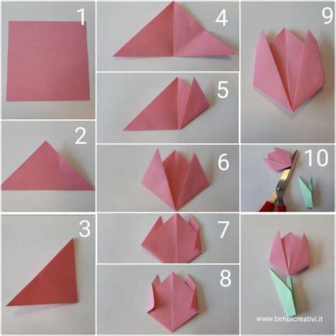 tutorial origami per bambini tulipani origami bimbi creativi